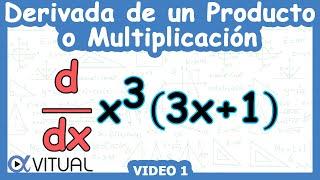 Derivada de un producto o multiplicación ejemplo 1 | Cálculo diferencial - Vitual