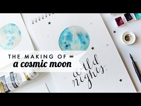 How to Watercolor x A Cosmic Moon! | Simple step-by-step