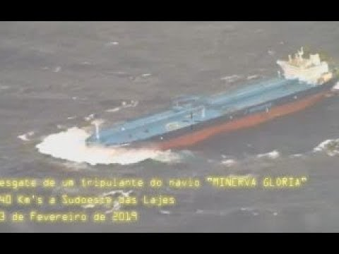 Crude oil Aframax tanker Ship MINERVA GLORIA  medical helicopter