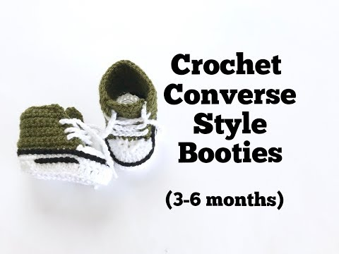 How to Crochet Converse Style Booties (3-6 months)