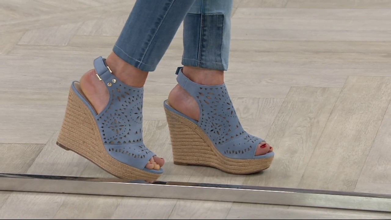 7d31e862f93 Marc fisher suede perforated peep toe wedges harlea on youtube jpg 1280x720 Marc  fisher wedge shoes