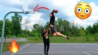 1 ON 1 BASKETBALL CHALLENGE FOR JORDAN'S (DUNKED ON HIM)