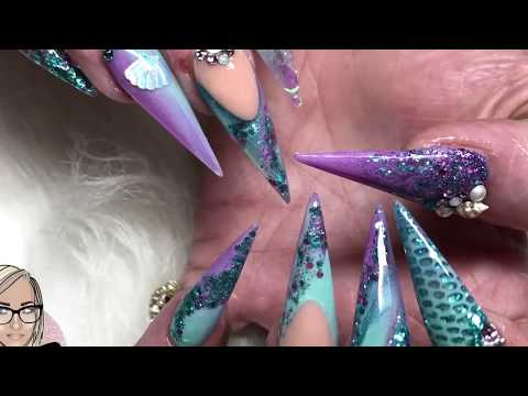 Mermaid Pt2 ~ mermaid acrylic nails ~ netted nails ~ angel paper ~ marble nails ~ sea shells