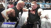 """&quotStone Cold"""" Steve Austin confronts Brock Lesnar days before WrestleMania: SmackDown, March 11, 2004"""