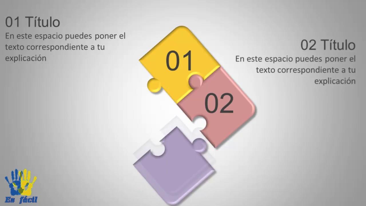 Presentaciones en PowerPoint. Puzle 4 opciones. Infografía animada.