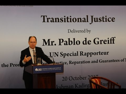 Lecture on Transitional Justice by UN Special Rapporteur Pab