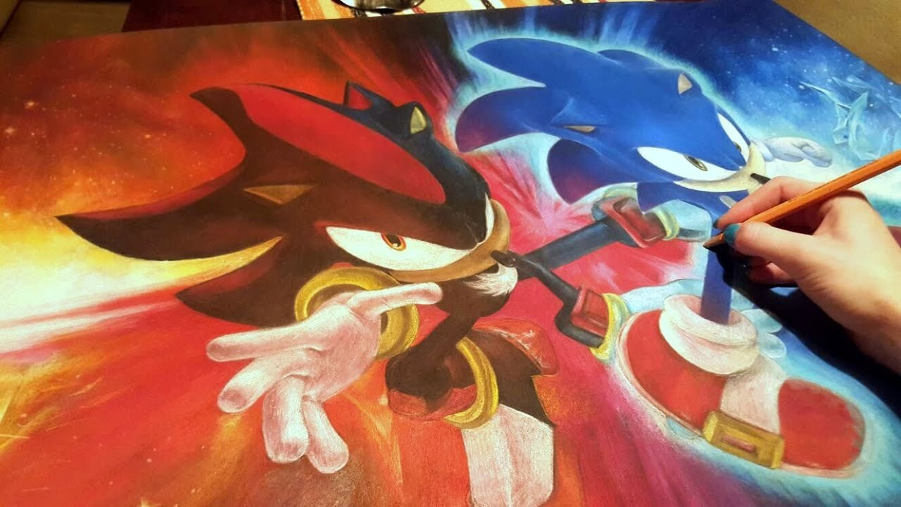 Colored Pencil Drawing Sonic and Shadow  Speed Draw  JosYMovieS