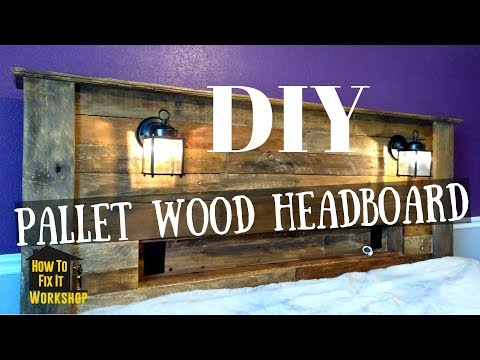 Pallet Wood Headboard with Coach Lights and Recessed Shelf - YouTube