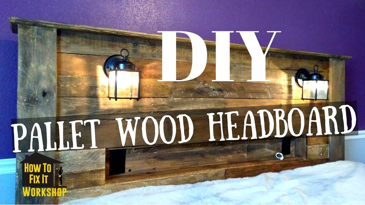 Pallet Wood Headboard With Coach Lights And Recessed Shelf