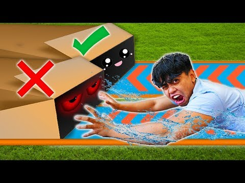 DONT Water Slide Through The WRONG Mystery Box!