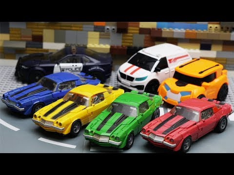 Transformers Bumblebee Movie Animation Robot Truck Lego Gym Fail & Robbery Bank Police Car for kids