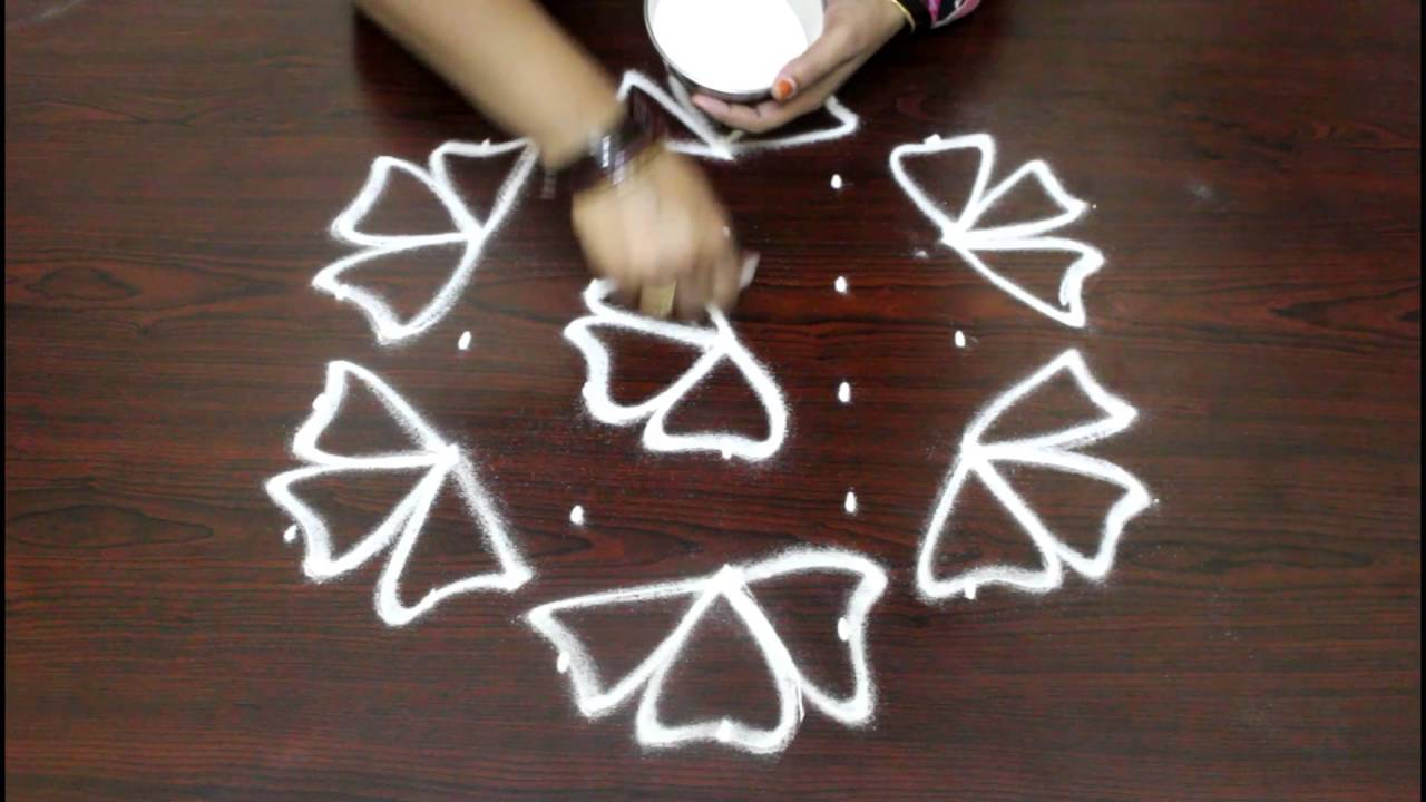 Flower Kolam Designs With 7 To 4 Dots Muggulu Designs With Dots
