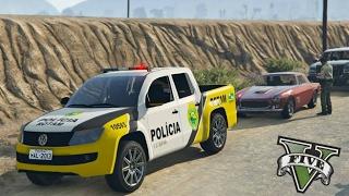 GTA V : VIDA DE POLICIA : Troca de Tiros Com Ladrões de Carro, Patrulhando Com AMAROK  Da PMPR   100