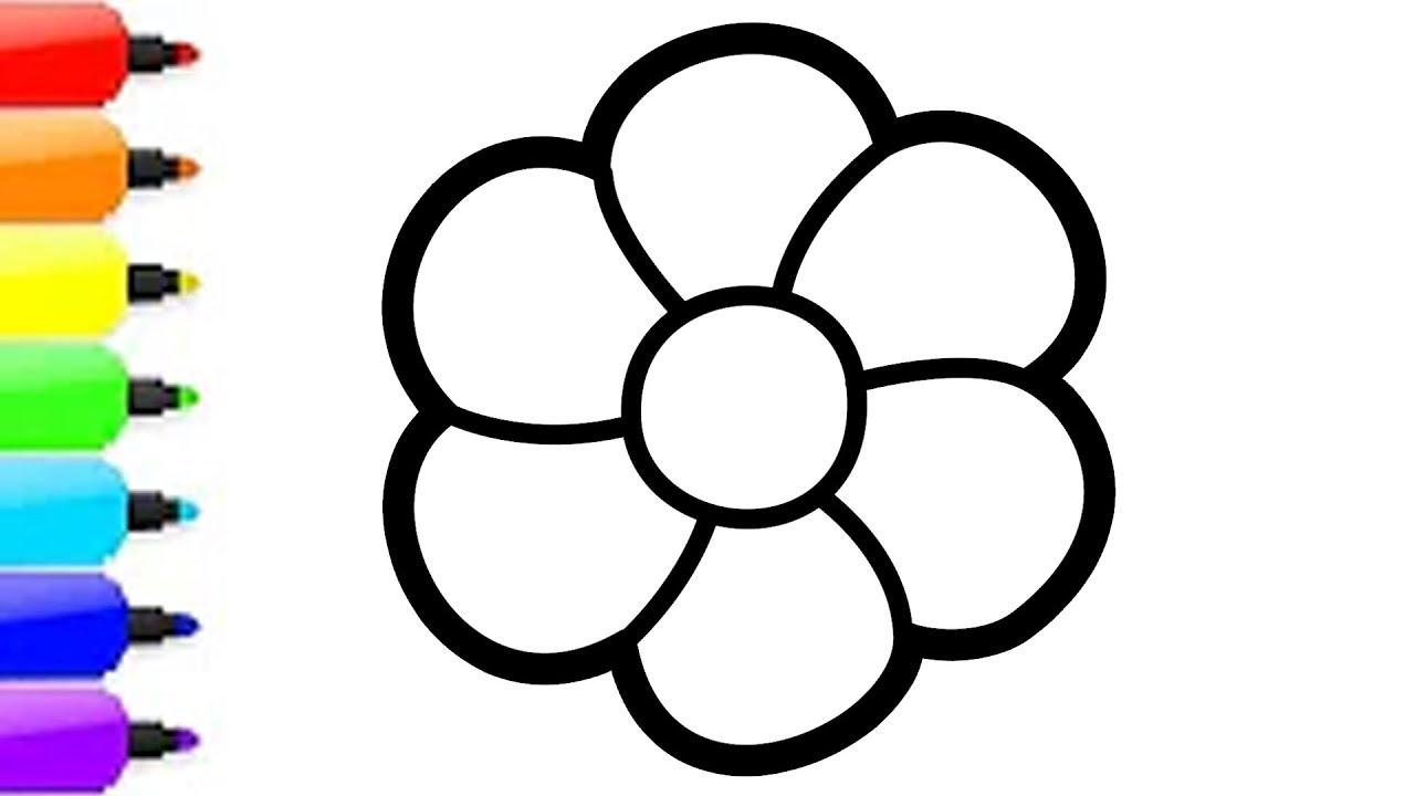 Menggambar Dan Mewarnai 3 Bunga Untuk Anak Anak Youtube