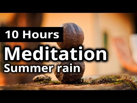 MEDITATION - Warm summer rain & birds - A light storm across the meadow RELAXATION + SLEEP SOUNDS