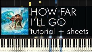 Alessia Cara How Far I'll Go Piano Tutorial Disney's Moana Soundtrack