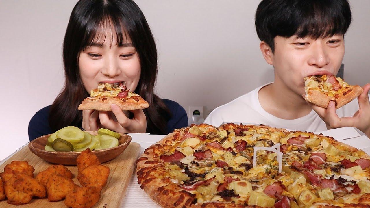 [먹방체험] 빵순이 구독자 채원님이랑🤗 도미노피자 고구마피자 핫크리스피순살 먹방ㆍASMR MUKBANG Sweetpotato pizza EATING SOUND