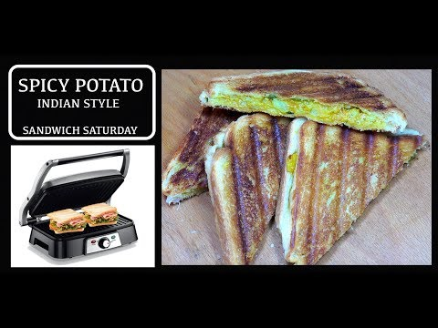 Toasted Potato Sandwich - Spicy Aloo Sandwich - Cheese & Potato Grilled Sandwich - Veg Sandwich