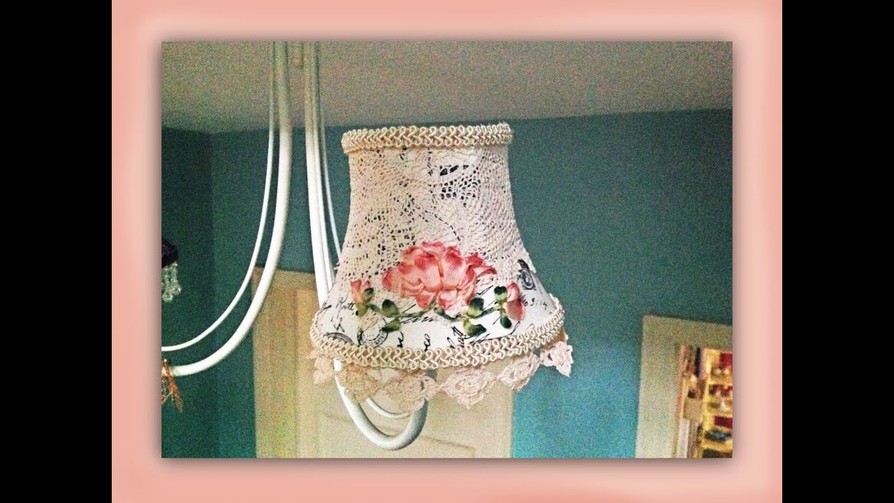 How to make a shabby chic silk embroidered lampshade youtube aloadofball Choice Image
