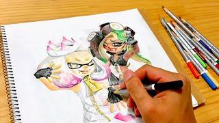 スプラトゥーン2 テンタクルズ リクエストぬりえ Splatoon2 hime iida switch coloringpage thumbnail