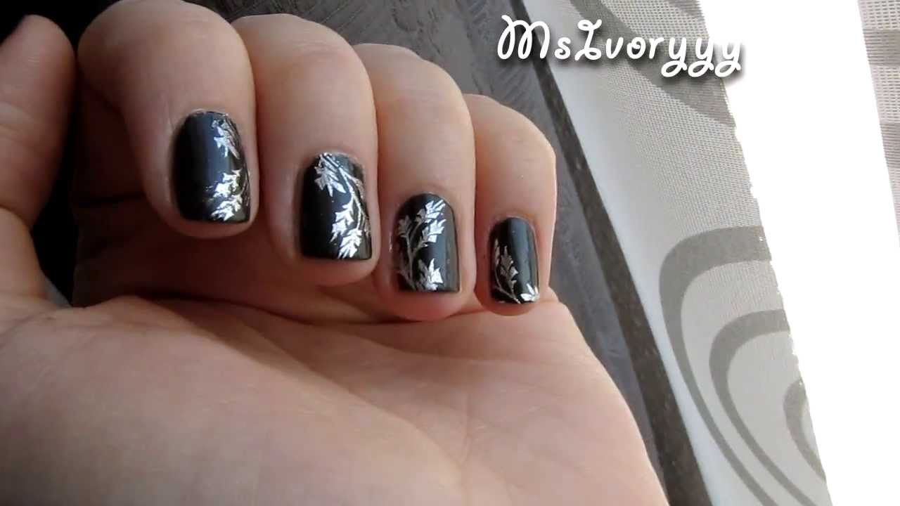 herbstliches nageldesign nailart f r kurze n gel gestempelt youtube. Black Bedroom Furniture Sets. Home Design Ideas