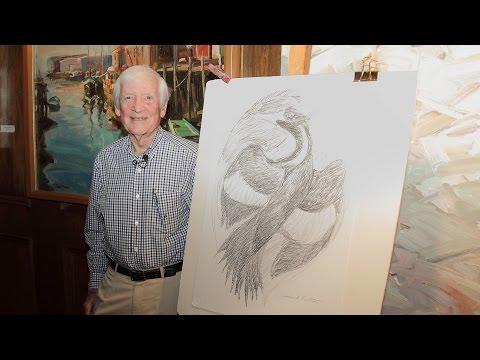 Wildlife artist John A. Ruthven draws an Ivory Billed woodpecker