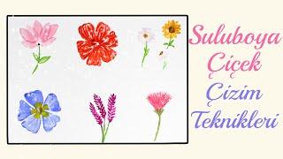 Suluboya İle Kolay Çiçek Çizimi  Katmanlı Çiçek Çizimi  Çizim Teknikleri