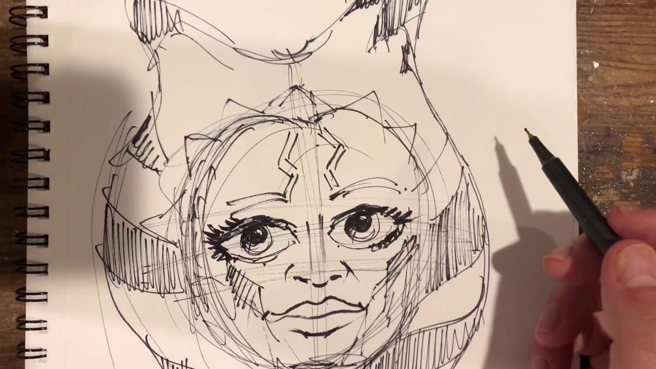 ahsoka tano clone wars sketch  youtube