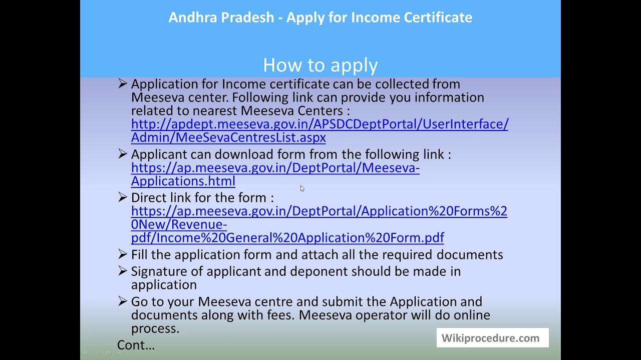 Andhra Pradesh - Apply for Income Certificate