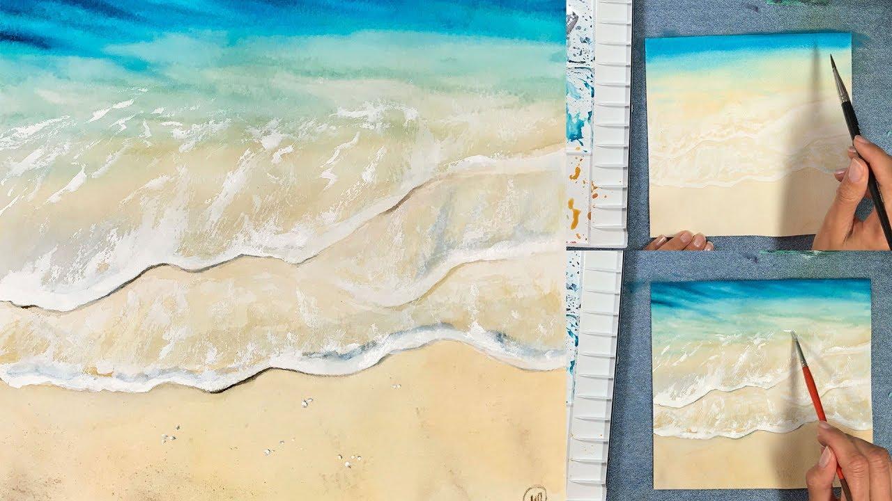 Easy waves watercolors painting tutorial youtube for Video tutorial on watercolor painting