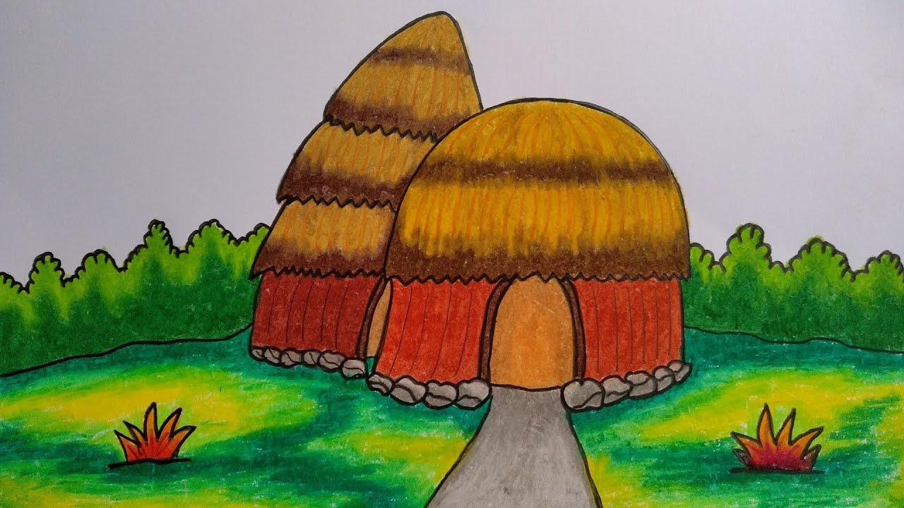Cara Menggambar Rumah Adat Menggambar Rumah Honai Menggambar Dan Mewarnai Rumah Adat Youtube