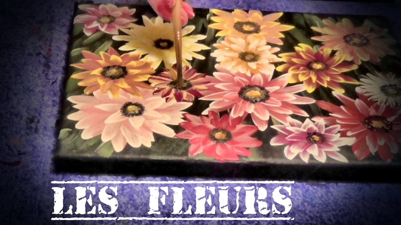 tuto tableau facile r aliser les fleurs youtube. Black Bedroom Furniture Sets. Home Design Ideas
