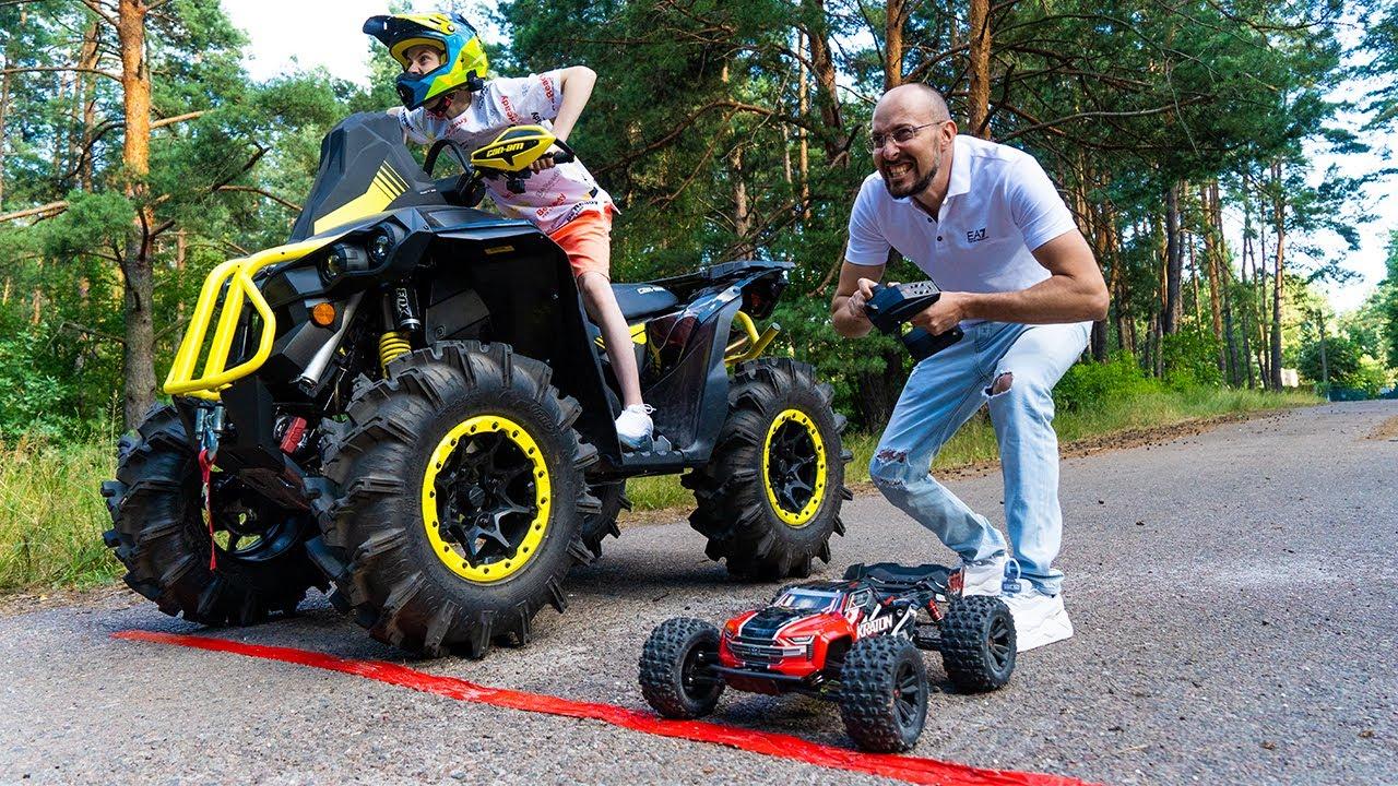 TOY car vs ATV BRP!!!ИГРУШЕЧНАЯ машинка VS квадроцикл BRP!!!