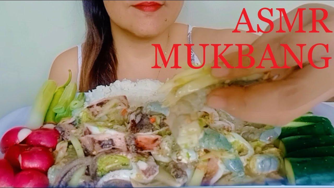 ASMR MUKBANG RAW SHRIMP & GRILLED SQUID KILAWIN   EATING SHOW   NO TALKING