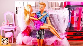 Barbie & Ken Bedroom Morning Routine Doll House غرفة نوم باربي Beliche para 미미 인형놀이 일상 밀착중계 보라미TV