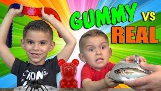 GUMMY FOOD vs. REAL FOOD CHALLENGE!!! Kids eat a real spider!