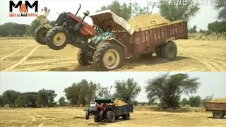 Swaraj 855 FE vs Massey Ferguson 9000 Tractor Stuck In Soil With Loaded Trolly// By Mix And Mix//#