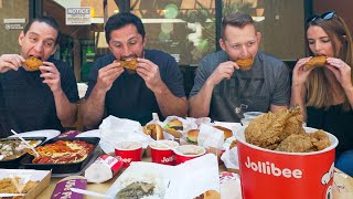 Americans try JOLLIBEE (Filipino Fast Food) | San Diego, California