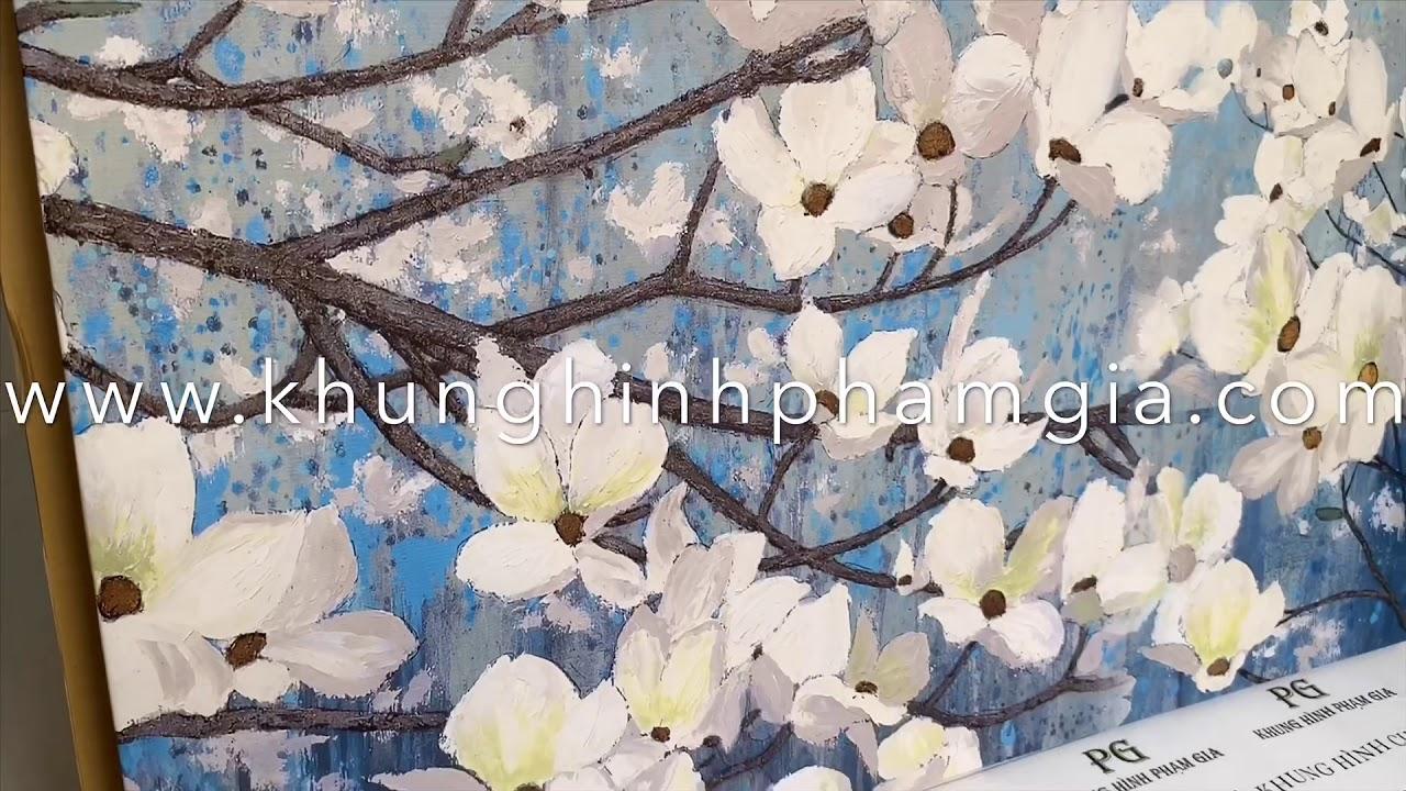 Tranh hoa mai, hoa đào vẽ tuyệt đẹp treo phòng khách, phòng ngủ