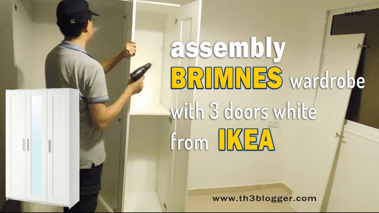 assembly brimnes wardrobe with 3 doors white from ikea th3 blogger