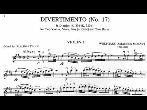 Wolfgang Amadeus Mozart Divertimento No. 17 in D major, K. 334