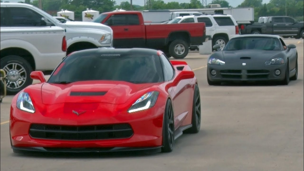 Chick In A Procharged C7 Corvette Takes Down Viper Youtube