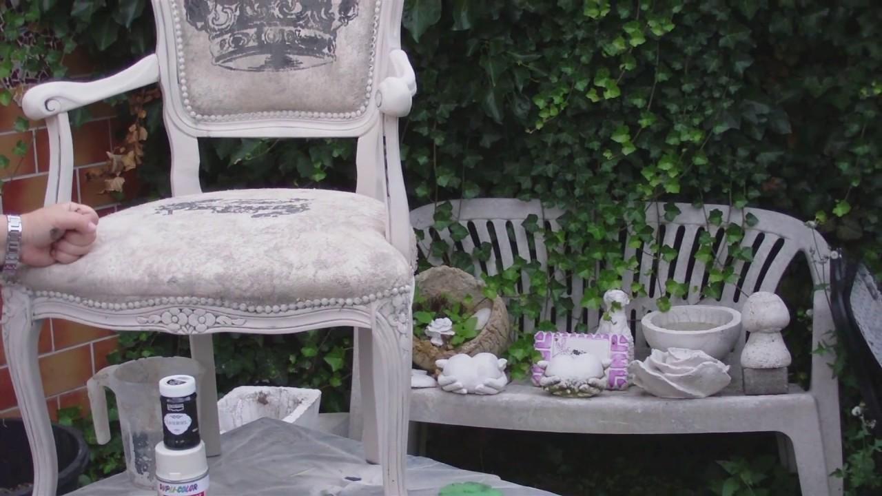 aus alt mach neu einen alten stuhl in shabby chic umgestalten youtube. Black Bedroom Furniture Sets. Home Design Ideas