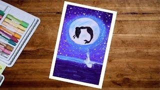 Mermaid Moonlight Drawing With Oil Pastel   Mermaid Drawing For Beginners   Oil Pastel Drawing