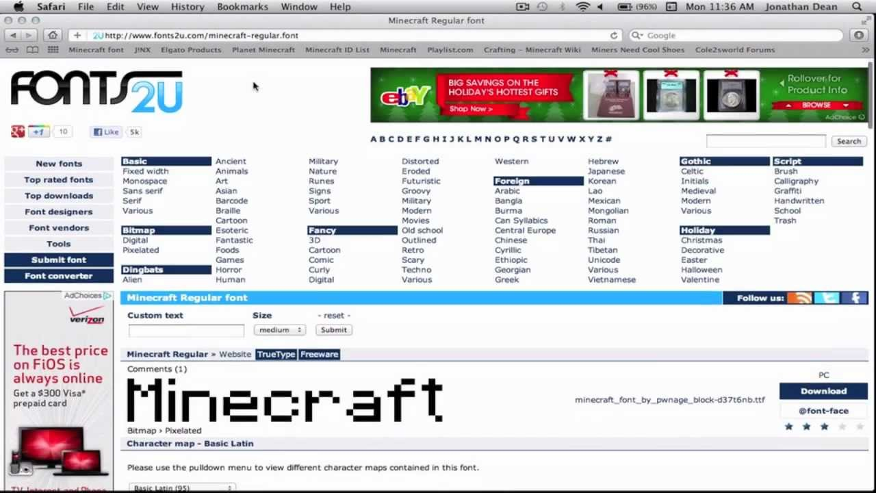 How to get the Minecraft font on Mac!