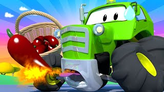 Amber the Ambulance -  Ben The Tractor Ate a Very Hot Chilli! - Car City ! Trucks Cartoon for kids