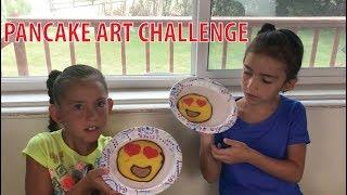 Pancake Emoji Art Challenge. Sister's Pancake Challenge.