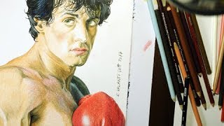 Drawing Rocky Balboa (Sylverster Stallone) - drawspeed. How to draw a color Rocky Balboa