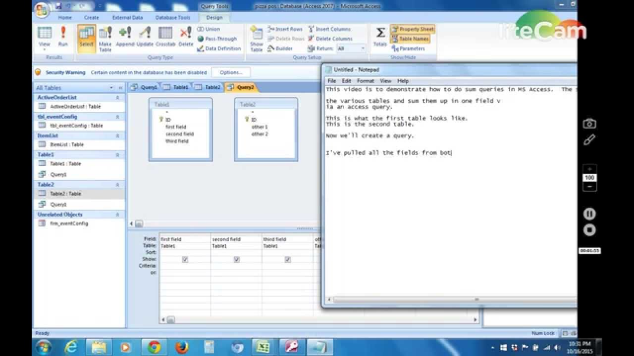 Microsoft access queries tutorial 1 creating a new query youtube.