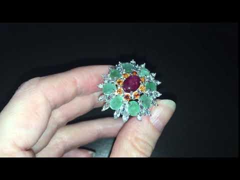Серебряное кольцо Рубин & Изумруд — Аквамарин — ОранжСапфир